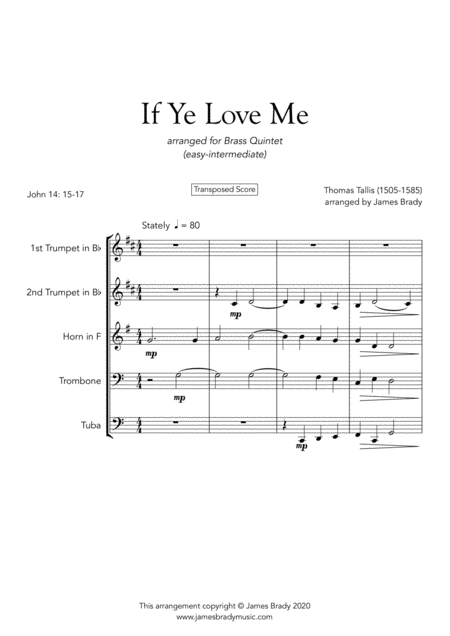 If Ye Love Me By Thomas Tallis Easy Brass Quintet Arrangement