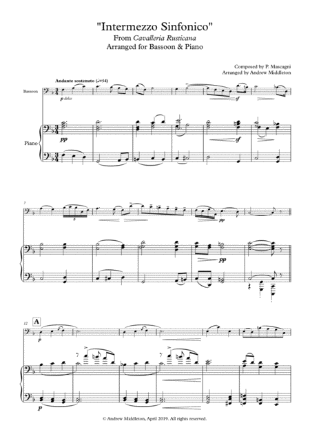 Intermezzo Sinfonico From Cavalleria Rusticana Arranged For Bassoon And Piano