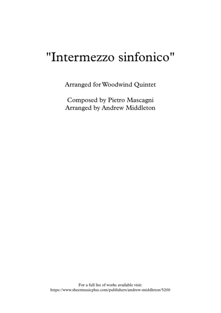 Intermezzo Sinfonico From Cavalleria Rusticana Arranged For Woodwind Quintet