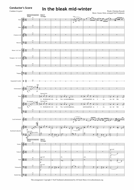 In The Bleak Midwinter Full Orchestra And Satb Choir
