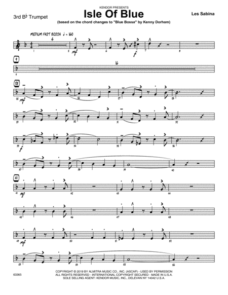 Isle Of Blue Based On The Chord Changes To Blue Bossa 3rd Bb Trumpet