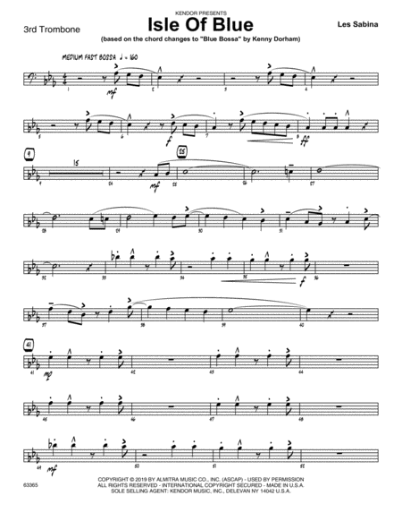 Isle Of Blue Based On The Chord Changes To Blue Bossa 3rd Trombone