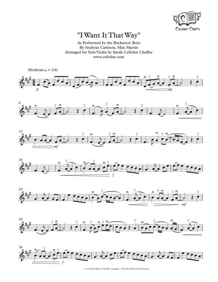 I Want It That Way Solo Violin Backstreet Boys Arr Cellobat