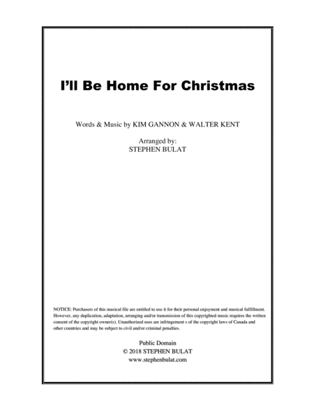 I Will Be Home For Christmas Lead Sheet Melody Lyrics Chords In Key Of D