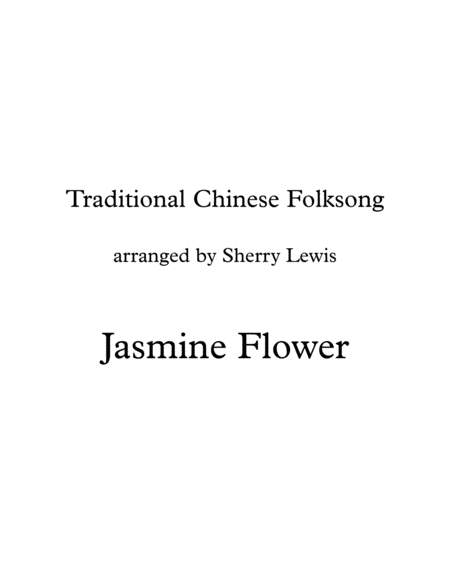 Jasmine Flower Traditional Chinese Folk Song Violin Solo For Solo Violin