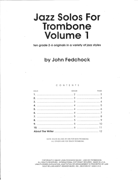 Jazz Solos For Trombone Volume 1
