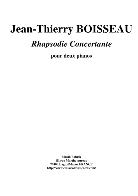 Jean Thierry Boisseau Rhapsodie Concertante For Two Pianos