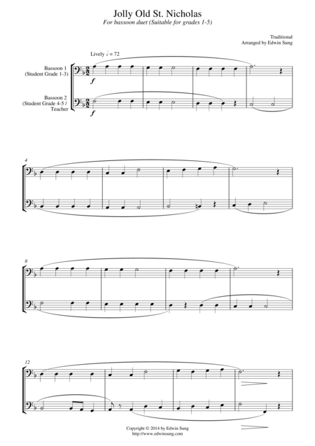 Jolly Old St Nicholas For Bassoon Duet Suitable For Grades 1 5