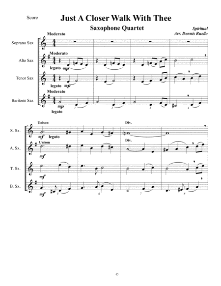 Just A Closer Walk With Thee Saxophone Quartet Jazz Funeral Style Satb Or Aatb