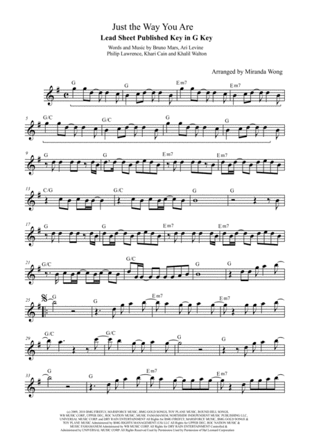 Just The Way You Are Lead Sheet In G Key With Chords