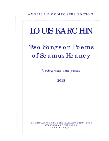 Karchin Two Songs On Poems Of Seamus Heaney