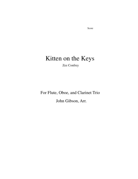 Kitten On The Keys For Flute Oboe And Clarinet Trio