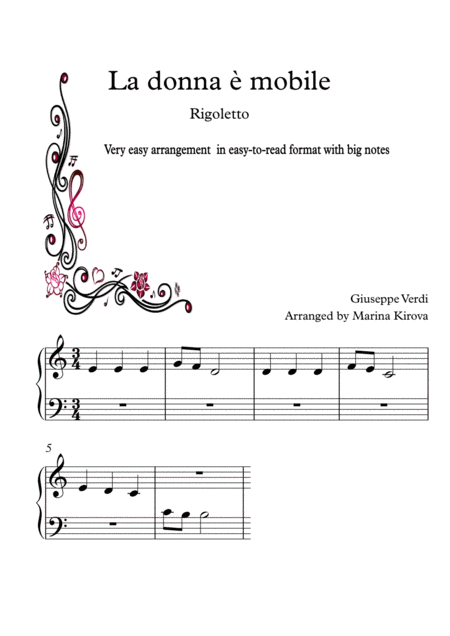 La Donna E Mobile Verdi Very Easy Piano In Easy To Read Format