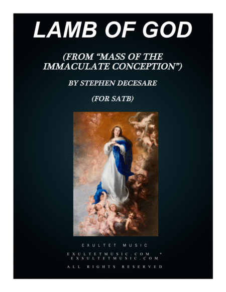 Lamb Of God From Mass Of The Immaculate Conception Satb