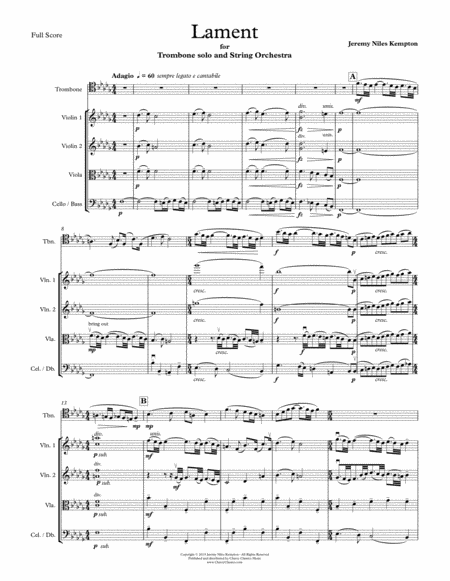 Lament For Trombone And String Orchestra
