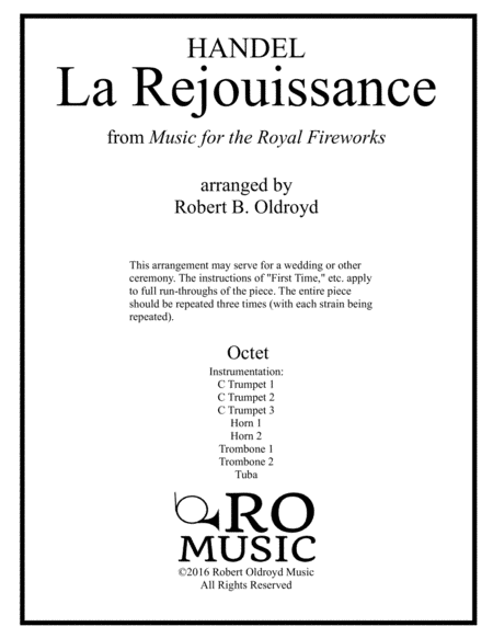 La Rejouissance From Royal Fireworks For Brass Octet