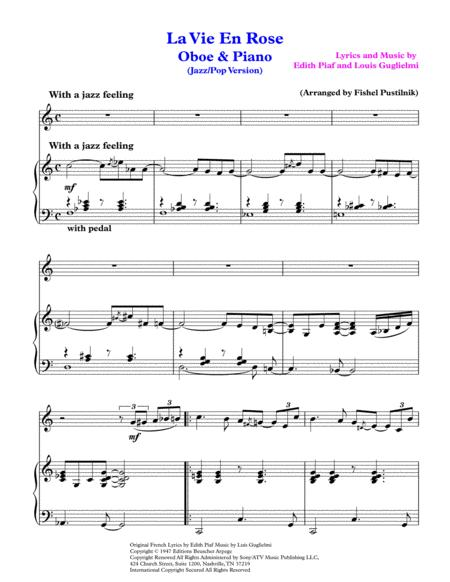 la vie en rose jazz pop version for oboe and piano video free music sheet -  musicsheets.org  music sheet library for all instruments