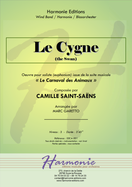 Le Cygne The Swan Carnaval Des Animaux Carnival Of The Animals For Concert Band
