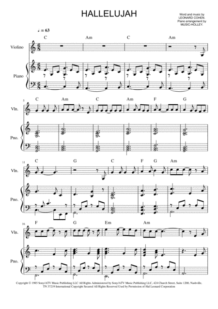 Leonard Cohen Hallelujah Violin And Piano Sheet