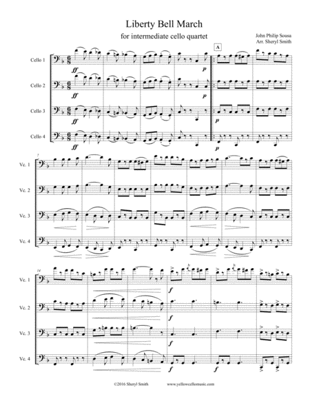 Liberty Bell March By Sousa Arranged For Intermediate Cello Quartet Four Cellos