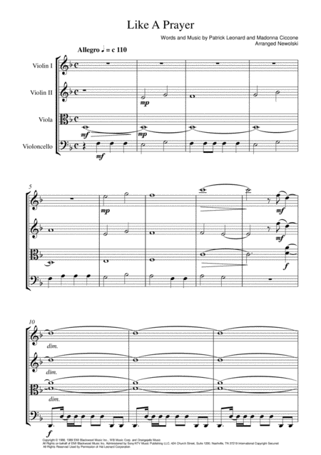 Like A Prayer String Quartet Score And Parts