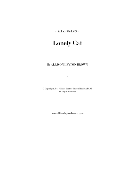 Lonely Cat Easy Piano Solo By Allison Leyton Brown