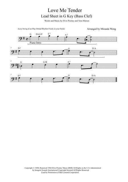 Love Me Tender Lead Sheet For Bassoon And Piano Accompaniment