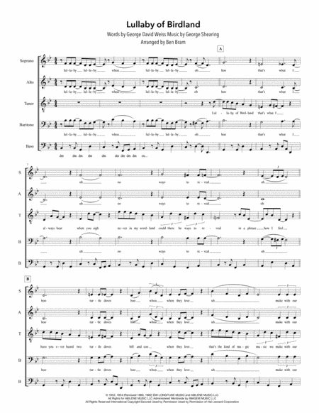 Lullaby Of Birdland Satb Version