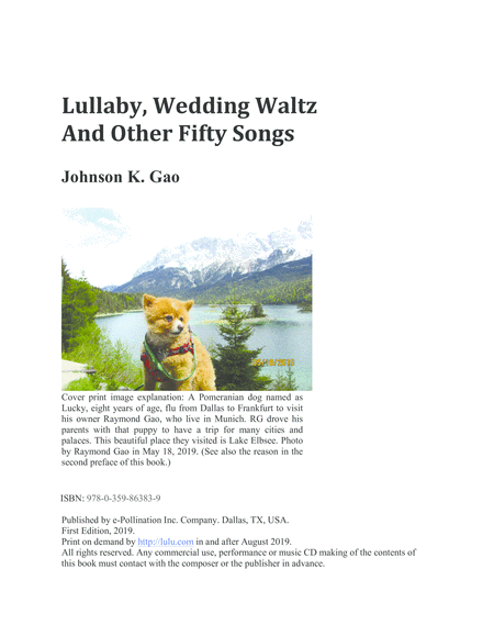 Lullaby Wedding Waltz And Other Fifty Songs Downloadable Version