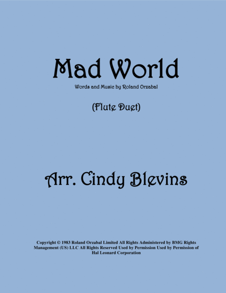 Mad World Arranged For Flute Duet