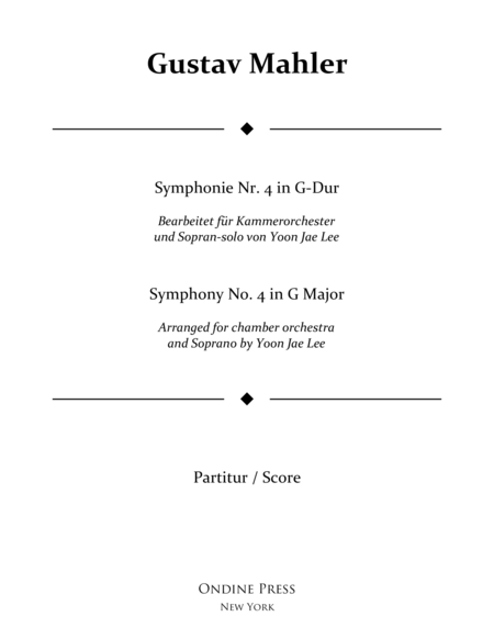 Mahler Arr Lee Symphony No 4 In G Major 4th Movement Full Score