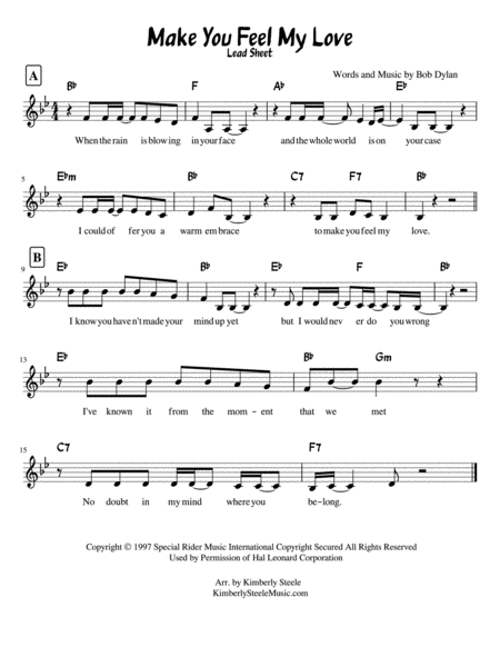 Make You Feel My Love By Bob Dylan Sung By Adele Lead Sheet