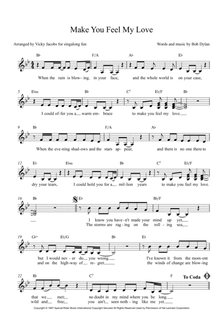 Make You Feel My Love Leadsheet For Singalongs