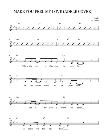 Make You Feel My Love Leadsheet Melody Notated