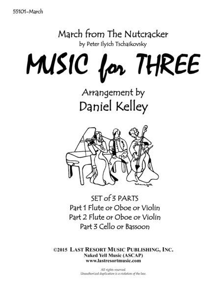 March From The Nutcracker For String Trio 2 Violins Cello Set Of 3 Parts