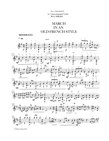 March In An Old French Style For Unaccompanied Violin