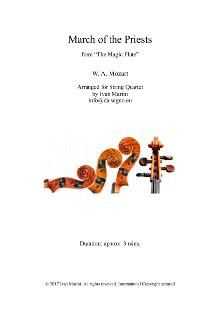 March Of The Priests From The Magic Flute By W A Mozart For String Quartet Or Orchestra