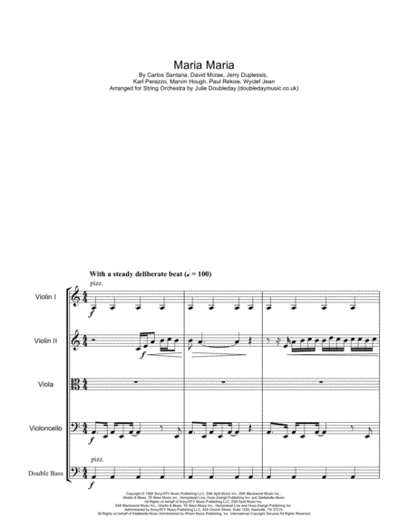 Maria Maria For String Orchestra Score And Parts