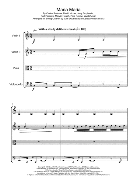 Maria Maria For String Quartet Score And Parts