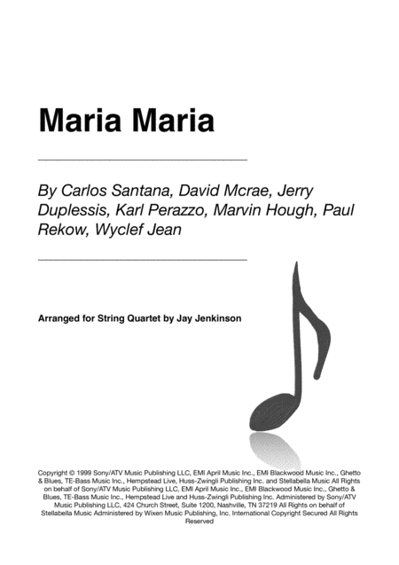 Maria Maria For String Quartet