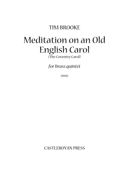 Meditation On An Old English Carol The Coventry Carol Brass Quintet Score