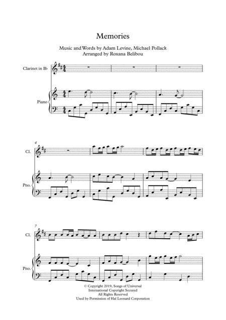 Memories C Major By Maroon 5 Clarinet Piano Free Music Sheet Musicsheets Org