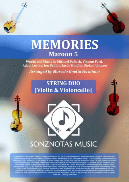 Memories Maroon 5 Sheet Music For String Duo Violin Violoncello Score And Parts