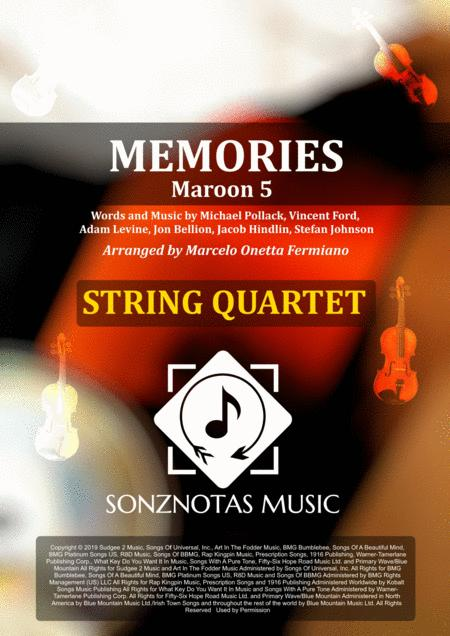 Memories Maroon 5 Sheet Music For String Quartet Score And Parts