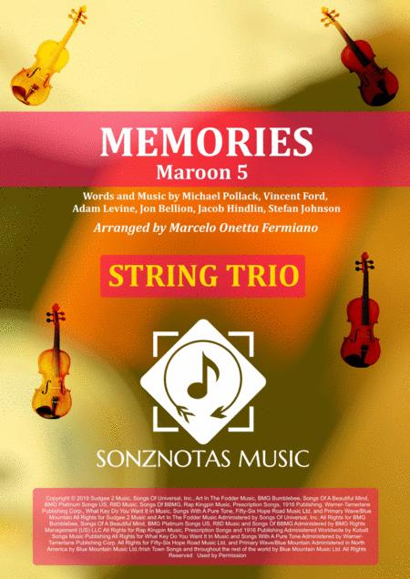 Memories Maroon 5 Sheet Music For String Trio Score And Parts