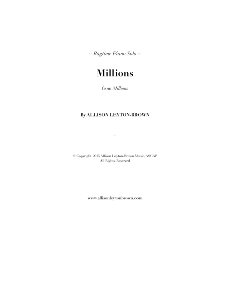 Millions A Ragtime Piano Solo By Allison Leyton Brown