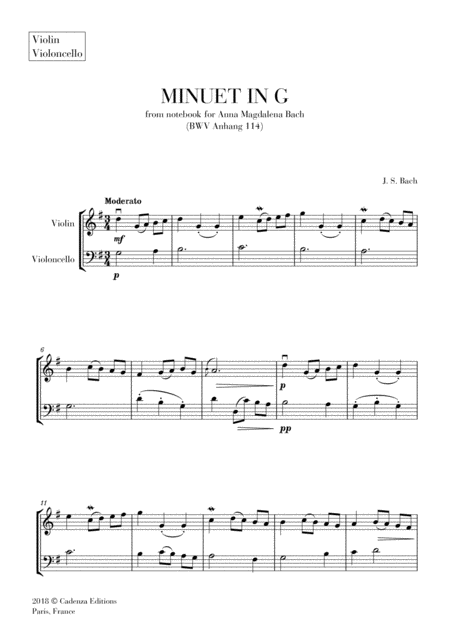 Minuet In G From Anna Magdalena Notebook For Violin And Cello String Duet