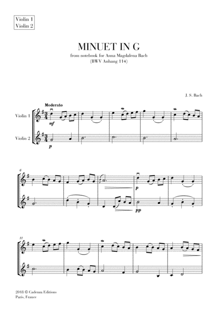 Minuet In G From Anna Magdalena Notebook For Violin Duet String Duet