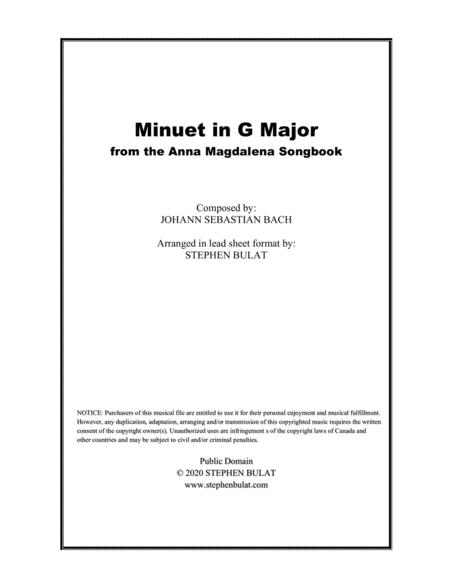 Minuet In G Major Bach Lead Sheet In Original Key Of G