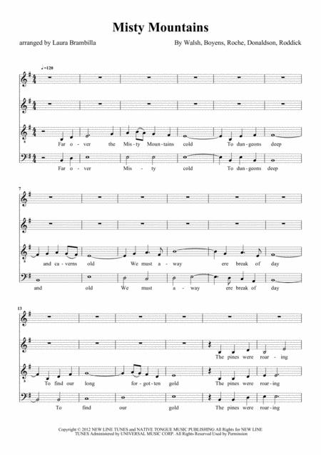 Misty Mountains The Hobbit For Satb Choir